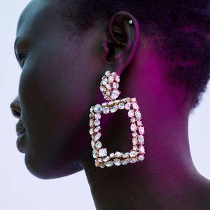 Flatfoosie Shiny Crystal Square Drop Earrings 2018 Boho Vintage Large Golden Dangle Earring Fashion Bar Party Jewelry For Women