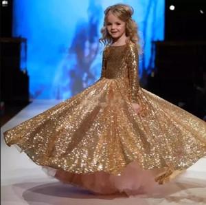 Köpüklü Sequins kızın Pageant elbise 2018 Altın Uzun Kollu Kat Uzunluk Prenses Doğum Günü Partisi Kızların Elbiseler BA6822