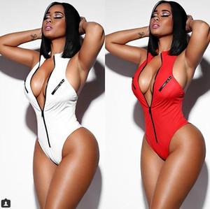 2018 Sommer New Beach Red body feminino Reißverschluss Frauen Damen Casual Body Trikot V-ausschnitt Backless Sexy Schlank Party Overall