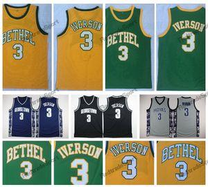 Mens pas cher Allen iverson # 3 Bethel High School Bruins Basketball Jerseys Allen Iverson Georgetown Hoyas College Chemises cousues