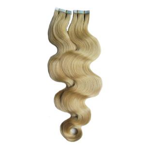 100g Remy Extensiones de cabello humano Cinta adhesiva PU Piel de trama (40 piezas) Cinta en extensiones de cabello humano Onda del cuerpo Virginal brasileña sin procesar