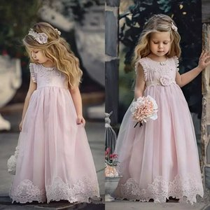 Румяна розовый цветок девушка платья для свадьбы аппликация дети театрализованное платье линия кружева ребенка выпускного вечера платья первого Причастия платье длиной до пола