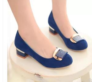 Free send 2018 spring and Autumn new style Women's Coarse heel Single shoes low heel medium heel round head fashion shoes