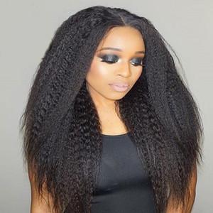 180 Densité Kinky droite en dentelle pleine perruque Top en soie 4.5X5 humaine malaisienne Base de cheveux Soie Naturelle Hairline Glueless Lace Front Wigs