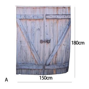 Pays d'Amérique Style Polyester Rideau de douche Vieux Bronze Porte de Garage En Bois Vintage Rustique Rideau de Douche Salle De Bains Décor Art