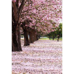 Primavera Cereja Flor Árvores Crianças Meninas Backdrops para Fotografia Impresso Pink Blossoms Pétalas Natureza Cênica Crianças Photo Shoot Background
