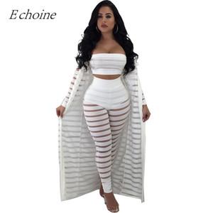 2018 Sexy évider 3 pièces Ensemble Femmes Bustier Crop Top Sheer Stripe Mesh Pantalon Long Cardigan Ensemble Plus La Taille Club Tenues