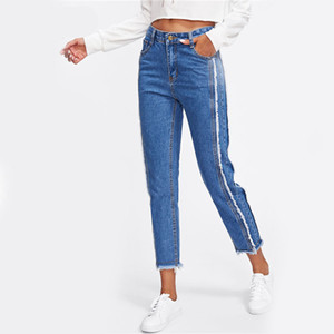 Regelmäßige ausgefranste Trim Mid Waist Tapered Jeans Frauen Blue Casual Denim Cropped Pants 2017 Herbst Zipper Fly Straight Jeans