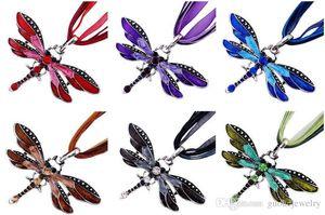 خمر اليعسوب الكريستال قلادة قلادة الدانتيل سلسلة البرونزية الرجعية قلادة العديد من الألوان المرأة الأزياء بيان مجوهرات