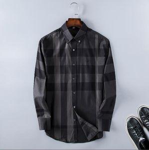 2020 American business brand self-cultivation plaid shirt, fashion designer brand long-sleeved cotton casual shirt striped co-dress shirt 99