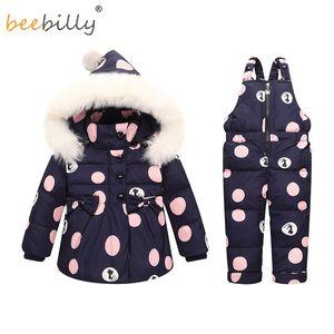 Зима Baby Girls одежда устанавливает теплые дети пуховики дети Snowsuit Baby лыжный костюм девушки пуховики верхняя одежда пальто + брюки