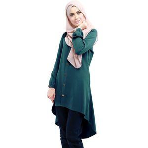 Musulman Loose Shirt Court Abaya Musulman Dress Femmes Tops Irrégulier Chemises Simple Couche Blouse Boutons Fermeture Ouvert Abayas Islamic Clothin