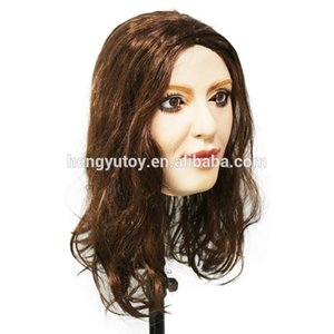 2018 Artificial Halloween Rubber Realistic DIVA female neck latex fetish mask transgender crossdresser