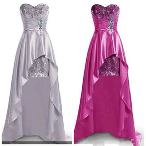 Sparkly High Low Bridesmaid Dress Sweetheart Crystals Sequins Short Front Long Back Party Gowns Formal Dress Custom Size