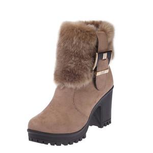 Moda Donna Inverno Pelliccia Scarpe Tacchi alti Stivali Donna Sexy Marca Caviglia Botas Calda Peluche Donna Snow Boots Tacco quadrato 7cm