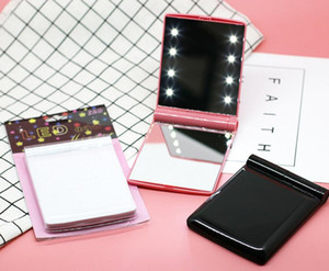 Lady Trucco cosmetico 8 LED Specchio Pieghevole Pieghevole Portatile Pocket Pocket Pocket LED Luci luci Lampade a Lampade a colori a caso DHL