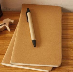 1 pcs papel de couro do bloco de notas em branco livro notepad livro macio diário diário memos capa Kraft jornal Calendário 01623