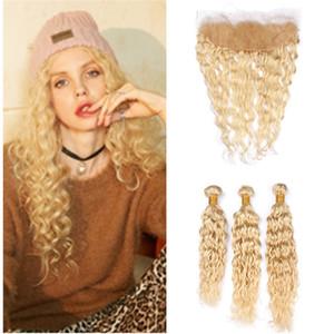 Волна воды Бразильской Блондинка Богородица человеческие волосы ткут с Frontals мокрых и Волнистые # 613 Blonde 13x4 Кружево Фронтального Закрытия с 3Bundles предложением