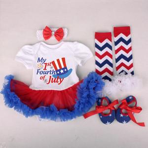 10Diseños Summer American Flags Ropa para niños Traje con mamelucos Diadema Zapatos para las existencias Indepence Day Dresses Mamelucos de manga corta rojos 0-2T