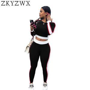 ZKYZWX Sexy Plus Size Set de dos piezas para mujer Sweatshirt 2018 Summer Side Striped Sweat Suits Blusas para cosecha + Pantalones largos Casual Chándal