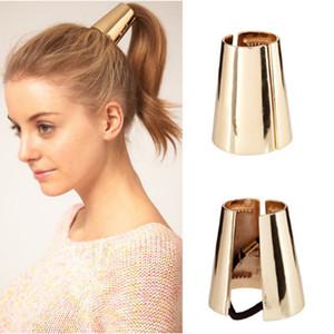 Vintage Metal Cone Pony Tails Holder chapado en oro pulido anillo de pelo de moda de lujo exagerada pasarela joyería del pelo