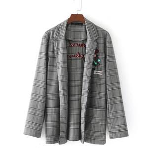 YSMILE Y Sonbahar Kadınlar Için Tam Kollu Nakış Üst Ceket Blazer Kadın Ekose Şerit Blazer Kadınlar için Yüksek Kalite Suits