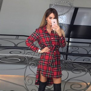 Explosion models autumn and winter shirt dress female European station short short rear long irregular plaid skirt 4 colors