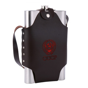 big capacity hip flask Stainless Steel 64oz wine Pot with portable bag Whiskey Bole drink outdoor with friend
