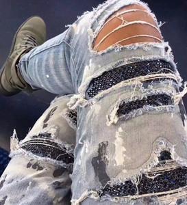 Оптовая тенденция новая кнопка кардиган разрушение эффект ножа CuttingJeans мужской уличный стиль карманный DecorationTight фитинг типа джинсы