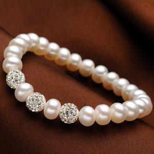 Moda Charm Bilezik İnci Takı Kristal Top Bilezikler Doğal Tatlısu Inci Kadınlar Için 925 Ayar Gümüş Takı