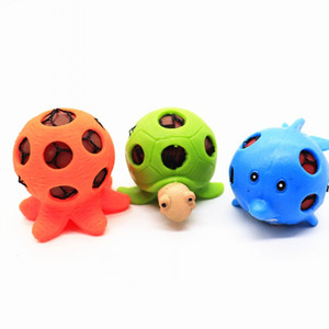 Três Cores Animal Squeeze Toy Engraçado Octopus Fish Tortoise Toys Tricky Aliviar A Pressão De Malha Squishy Bola Popular 2 4xt BB