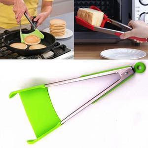 2-en-1 Clever Spatule Tong Cuisine Spatule Pinces Non-bâton Résistant À La Chaleur Clip Alimentaire En Acier Inoxydable Accessoires Gratuit DHL HH7-940