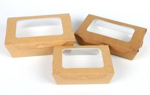 3 size Kraft Paper Salad Box Disposable Water Proof Takeaway Lunch Fruit Box Camping Supplies Dinnerware 400pcs lot
