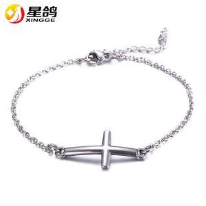 Jesus cristão das mulheres dos homens de aço inoxidável encantos cruz pulseiras de prata religiosa na moda pulseira cadeia sorte jóias atacado