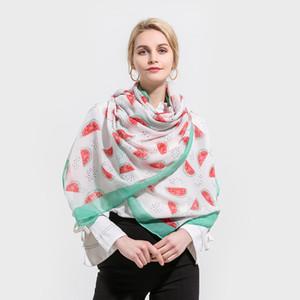 Winfox 2018 nueva moda blanco rojo verde menta color sandía fruta chales y abrigos bufanda para mujeres regalos