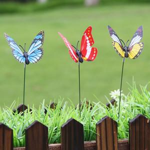 60PCS / 많은 인공 나비 정원 장식 시뮬레이션 나비 말뚝 마당 식물 잔디 장식 가짜 Butterefly 랜덤 Colo