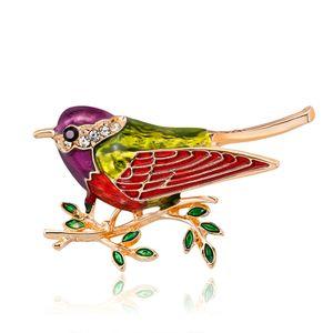 Swallow Bird Brooch rouge émail or cristal vintage