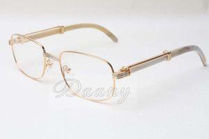 Óculos novos Quadrados Óculos de alta voz Branco Natural 7381148 óculos homens e mulheres, pode ser equipado com lentes de miopia, óculos Tamanho: 56-21-135MM