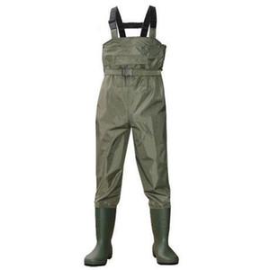 Eu38-47 al aire libre Pesca impermeable de PVC vadear pantalones transpirable botas de camuflaje de 3 capas Waders de Cultivo Hombres Mujeres Trajes Pantalones
