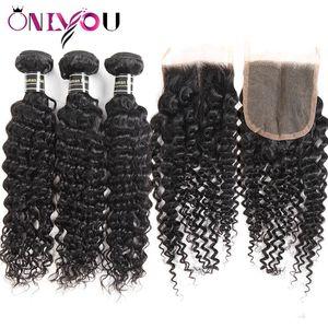 Fasci di onde profonde peruviane all'ingrosso di capelli vergini 9a con chiusura in pizzo Top Remy tesse i capelli umani per le donne nere