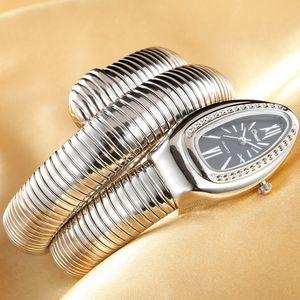 Schmuck Crystals Schlange-Armband-Uhr-Frauen Infinity-Armband-Uhr-Mädchen-Quarz-Uhr-Uhren