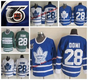 Vintage Toronto Maple Leafs Tie Domi Hockey Jerseys Home Blue Mens Classic 18 Tie Domi Stitched 75th Anniversary Hockey Shirts