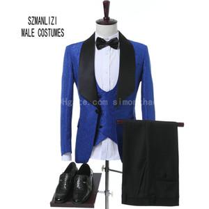 2018 Último diseño de bragas de abrigo por encargo Classic Royal Blue Flower hombres trajes de boda Mejor hombre Blazer traje de novio de esmoquin Trajes de fiesta de graduación