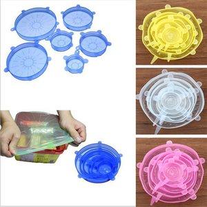 Estiramiento de silicona succión Pot tapas 6pcs / set de grado alimenticio fresco Mantener Seal Wrap tapa de una olla cubierta utensilios de cocina Accesorios HH7-1057