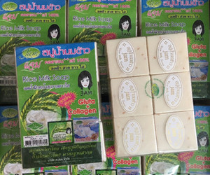 Thailand jam Rice Milk Soap Handwork Whitening Soap with Plant Essential Natural Mask White Bright Oil Soap