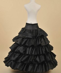 Free Shipping 5 Layers Black Petticoat with Ruffles Ball Gown 4 Hoops Crinoline for Wedding Dresses