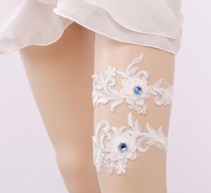 신부 웨딩 다리 가터 여성가 터 훈장이나 블루 라인 석 화이트 자 수 섹시한 Garters 2pcs 고품질 무료 배송