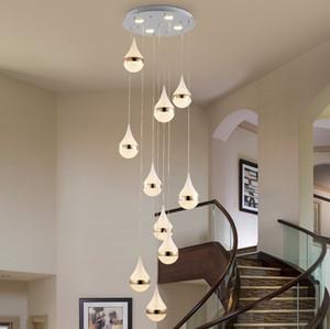 Criativo moderna sala de estar escadas longas lustres gotas de água de cristal areia villa complexo girando escadas lustres LLFA