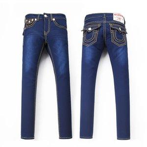 Mens TR TURA dritti RELIGHION Jeans Maschio blu denim dei pantaloni casuali pantaloni lunghi lunghezza di trasporto