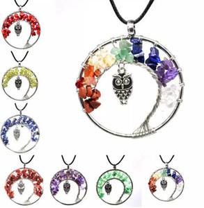 7 Chakra Quartz Crystal Naturstein Baum des Lebens Owl Halskette Multicolor Anhänger Charms Eule Anhänger Halsketten Kristall Macadam Halskette 30